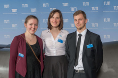 © TUM/Heddergott: Stipendiatin Bettina Chocholaty, Dipl.-Des. Claudia Janke, SSF Ingenieure AG Bereich Marketing, Stipendiat Sebastian Thoma